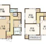 1380万円、4LDK、土地面積101.39m2、建物面積92.49m2 全室6帖以上の4LDKです(間取)